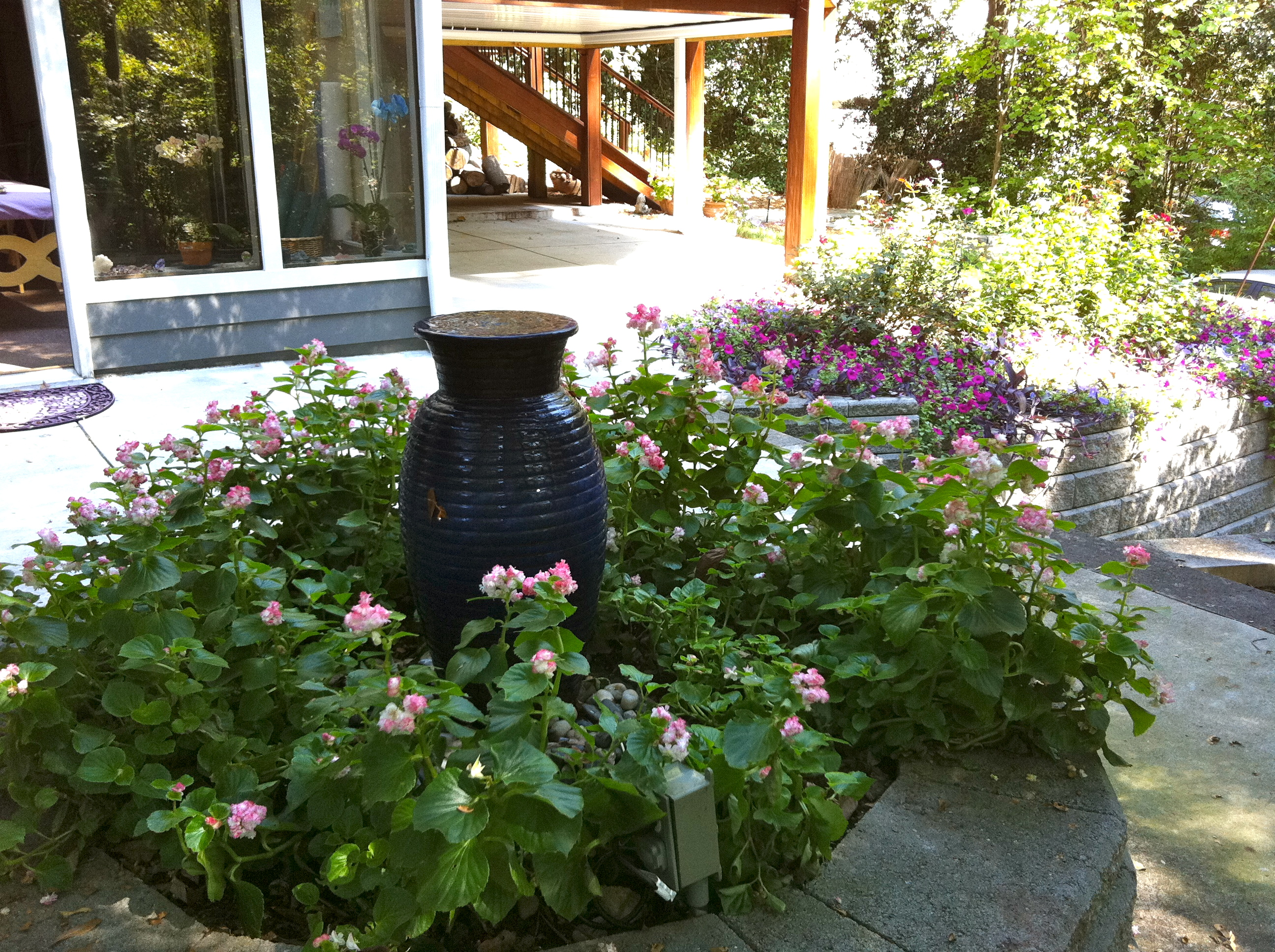 Apple Blossom Double Begonias Around Blue Jar Fountain