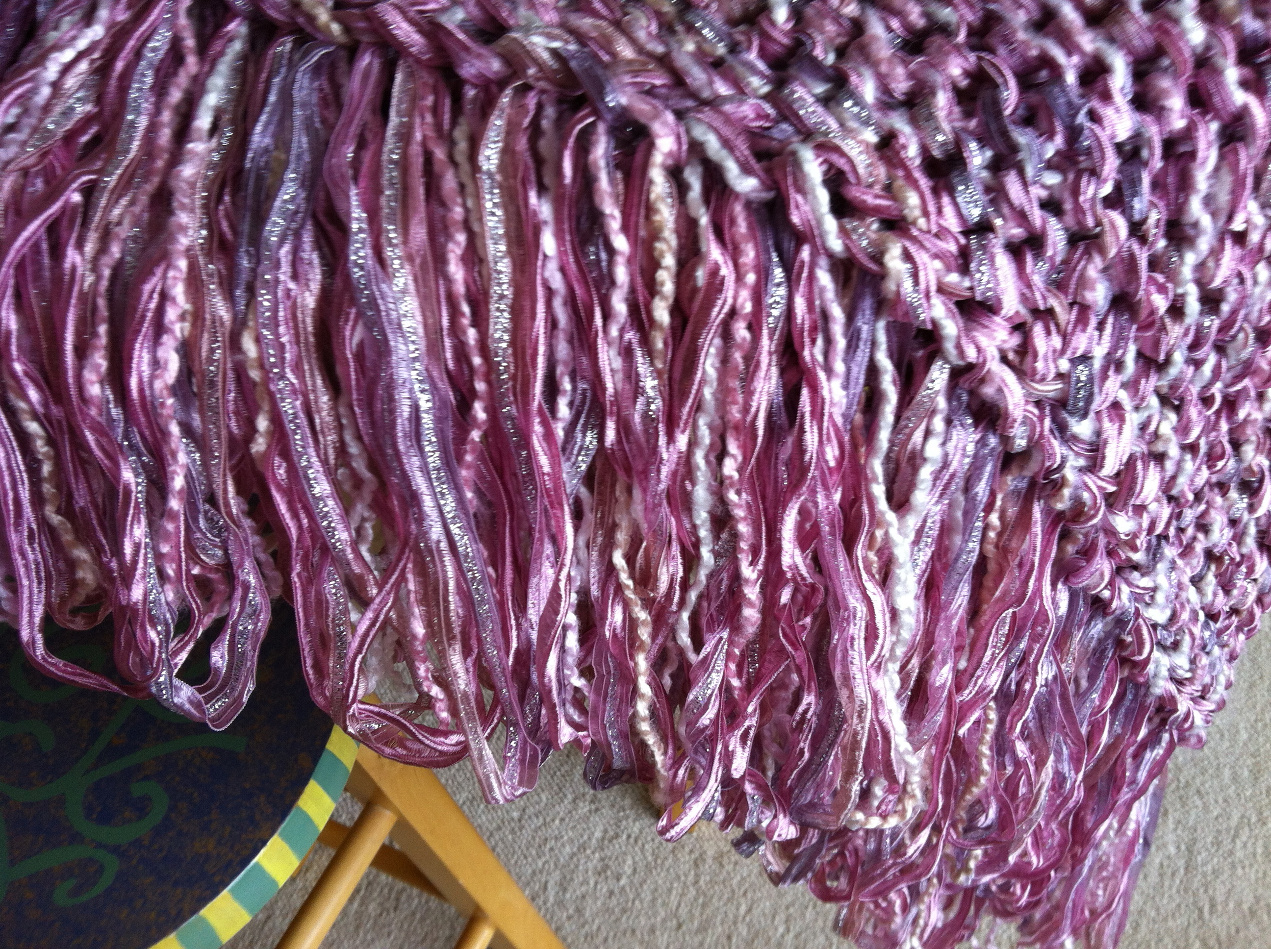 Pink Ribbon Fringe On Shawl I Made
