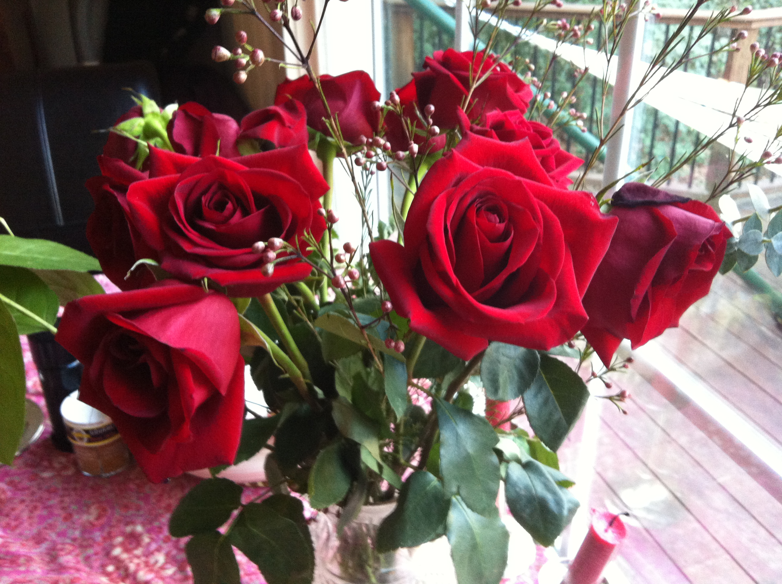 Red Roses On My Breakfast Table