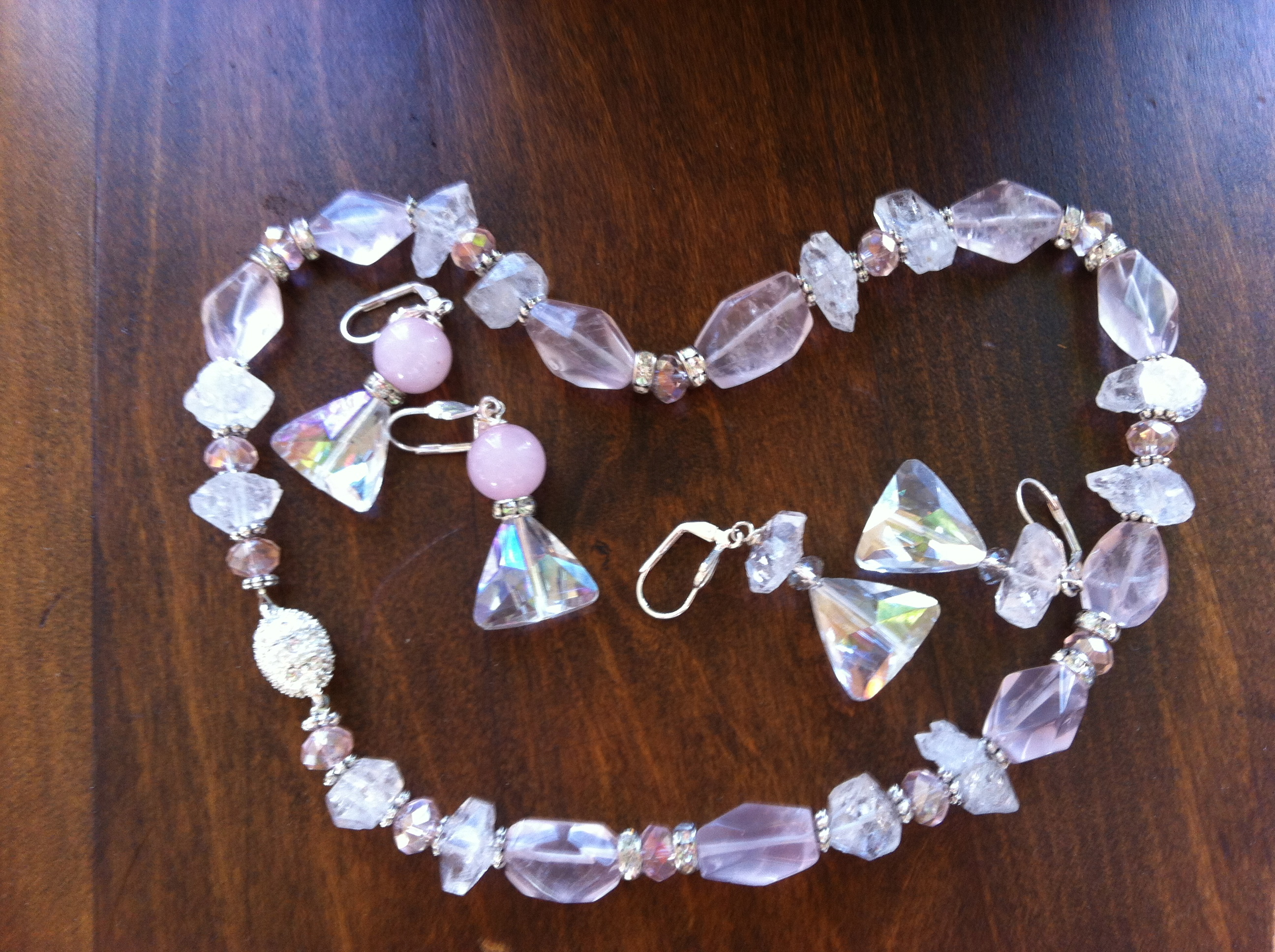 Herkimer and Rose Quartz Necklace and Earrings