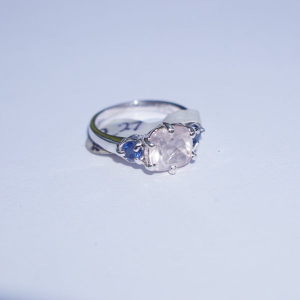 2.27 CT. CUSHION CUT ROSE QUARTZ RING WITH SAPPHIRE ACCENTS