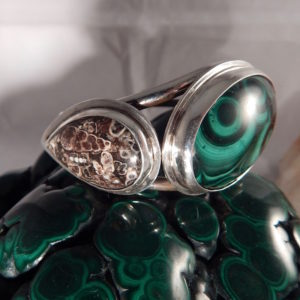 WINDOWS TO THE HEART COLLECTION MALACHITE AND SIX MILLION YEAR OLD TURRITELLA AGATE FOSSIL STERLING SILVER