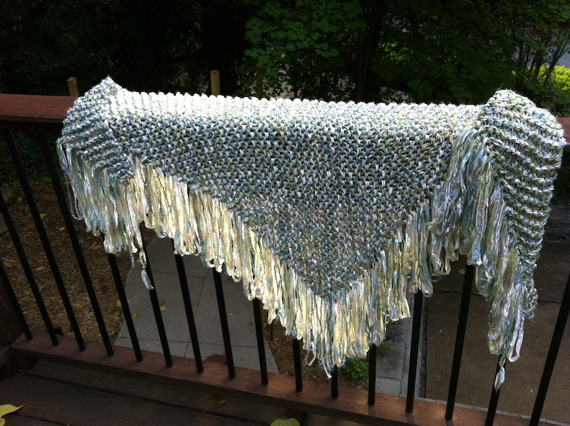 A fringed shawl I knitted