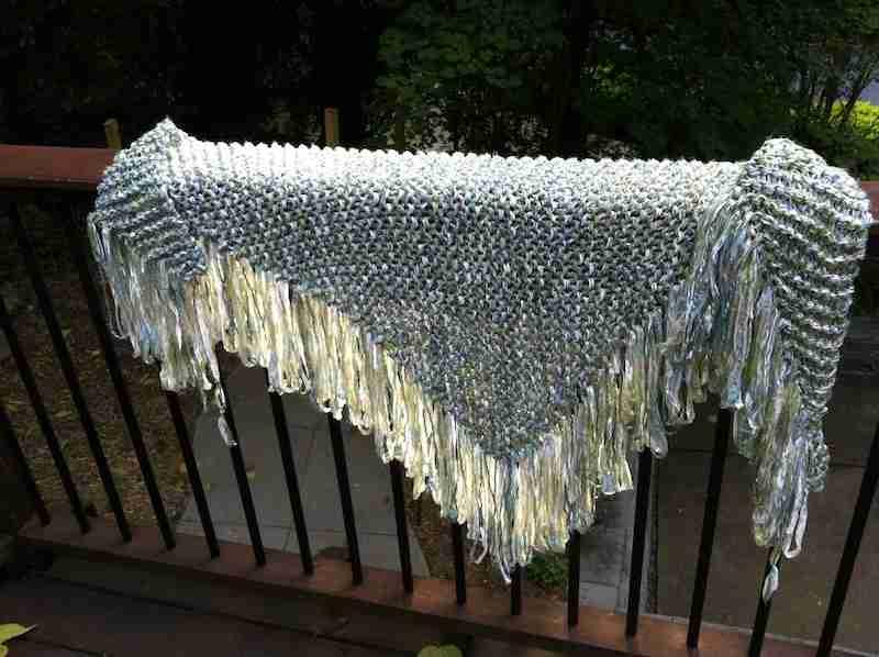 A fringed shawl I knitted