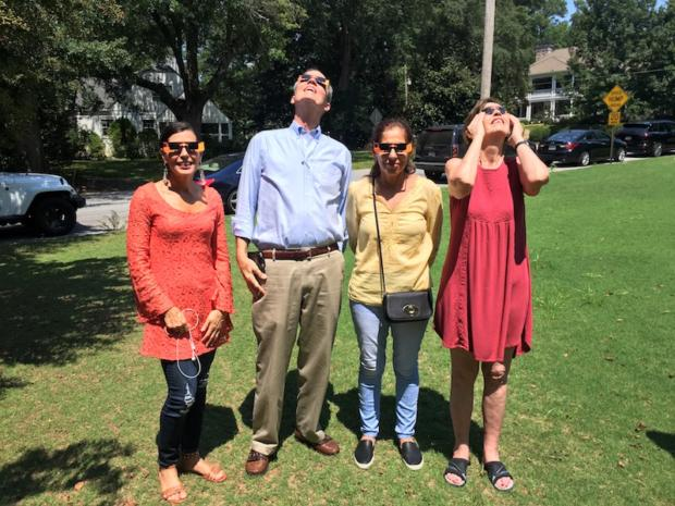 My friends and I looking weird in our official eclipse viewing glasses