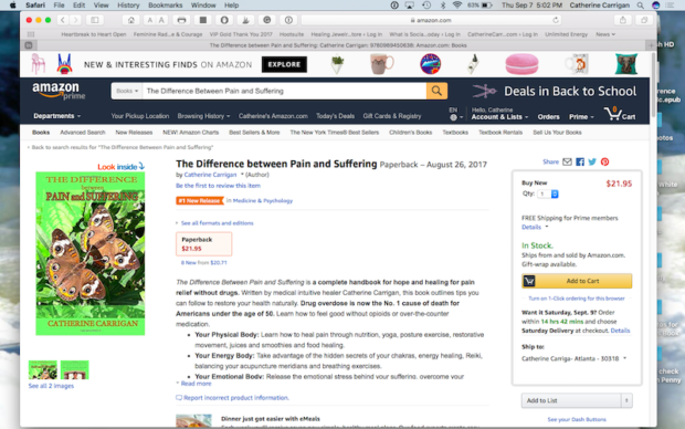 The Difference Between Pain and Suffering, No. 1 New Release in Medicine & Psychology on Amazon