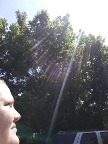 Angela Depew receiving light in Rockford, Illinois on July 3, 2018