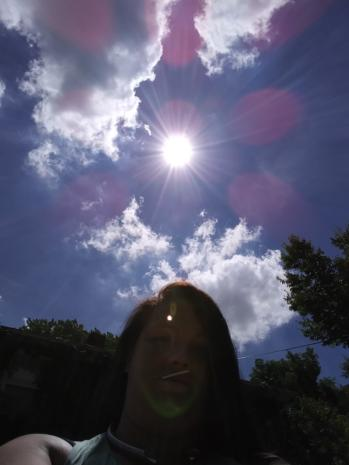 Pink Orbs Responding to Prayer Above Angela Depew in Rockford, Illinois on July 3, 2018