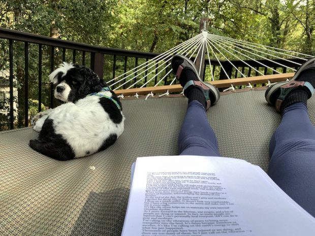 Dixie and I editing my 10th book